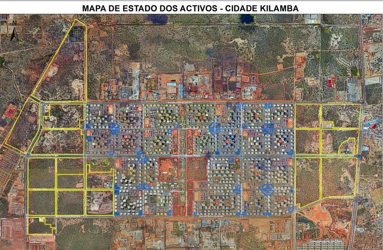 Mapa de activos da Empresa Gestora de Terrenos Infraestruturados (EGTI) na Cidade do Kilamba